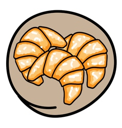 Three Fresh Croissants on Round Brown Background vector image