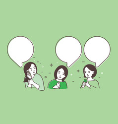 three women women talk chat vector image