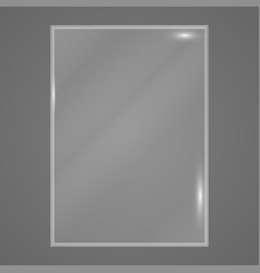Transparent glass plate on gray background vector