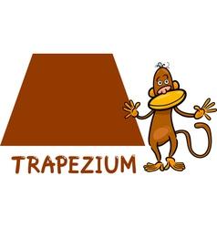 Trapezium shape with cartoon monkey vector