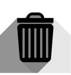 trash sign black icon with vector image
