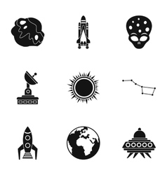 Universe icons set simple style vector