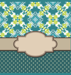 Vintage artistic abstract flower frame with text vector