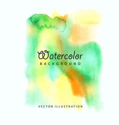 watercolored splash blot in green and yellow color vector image