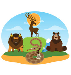 Wild animals deer bear snake buffalo reserve vector