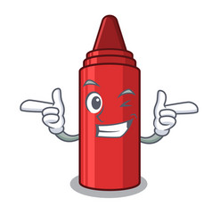 Wink red crayon in character shape vector