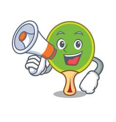 With megaphone ping pong racket character cartoon vector