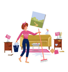 woman cleaning dirty living room with a mop and a vector image