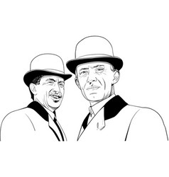 Wright brothers portrait in line art vector