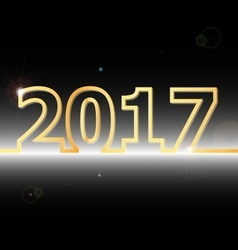 2017 Happy New Year on black background vector image