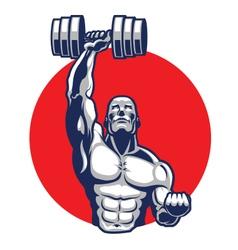 Muscular body builder mascot vector