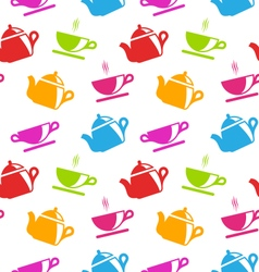 Seamless Texture with Teapots and Teacups vector image vector image