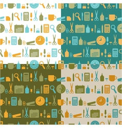 set of seamless patterns of office stationery vector image