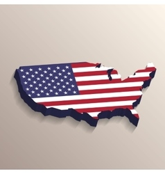 USA map with United States flag vector image vector image