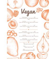 vegetarian cafe menu hand drawn design vector image vector image