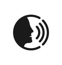 Voice command control with sound waves icon vector