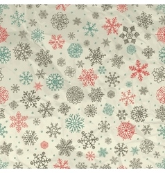 Winter Snow Flakes Seamless Background on Crumpled vector image vector image