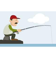 a fisherman holding a fishing pole vector image