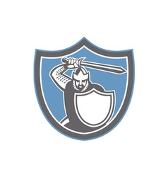 Crusader Knight Brandish Sword Shield Retro vector image vector image