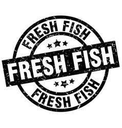 Fresh fish round grunge black stamp vector