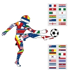 Silhouette figures football player vector image
