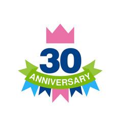 30th anniversary colored logo design happy vector image vector image