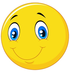 Happy smile emoticon on white background vector image vector image