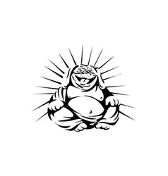 Laughing Bulldog Buddha Sitting Black and White vector image vector image