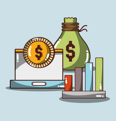 document business with bag and coin with vector image