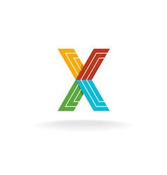 Letter X technology logo vector image