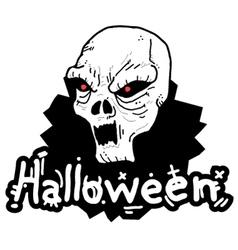 White skull halloween vector image