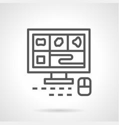 A computer tomography monitor line icon vector
