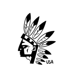 american indian chief hand drawn retro design vector image
