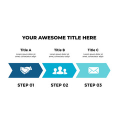 Arrows infographic timeline with 3 steps vector