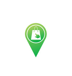 Bag for shop with click hand logo design online vector