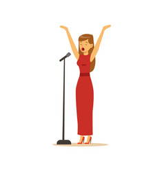 beautiful woman singer in red dress performing a vector image