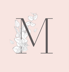 Blooming floral elegant m monogram and logo vector