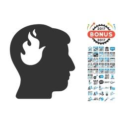 Brain Fire Icon With 2017 Year Bonus Symbols vector