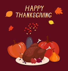 Bright colorful thanksgiving cartoon template vector