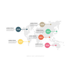 business timeline with world map infographic vector image