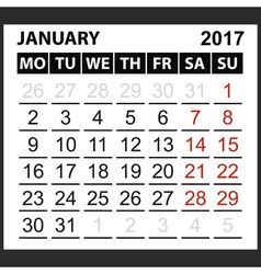 Calendar sheet january 2017 vector