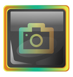camera grey square icon with yellow and green vector image