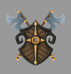 Cartoon black shield vector image