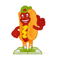 Cartoon character hot dog vector