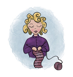 Cartoon woman knitting hobby vector
