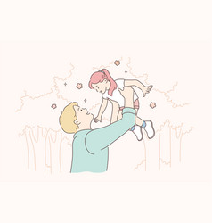 Childhood fatherhood support game concept vector