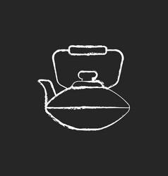 Chinese iron teapot chalk white icon on dark vector
