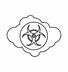 Cloud with biohazard symbol icon outline style vector