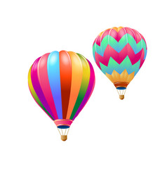 Colorful hot air balloons flying isolate on white vector