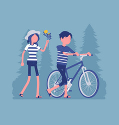 couple in a park vector image